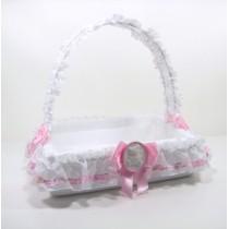 Cesto porta bomboniere con orsetto rosa