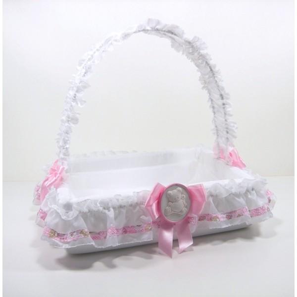 Cesto porta bomboniere con orsetto rosa - Cesti porta bomboniere matrimonio ...
