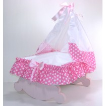 Culla a dondolo porta bomboniere rosa pois
