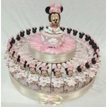 Torta bomboniera Minnie con confetti e bigliettino