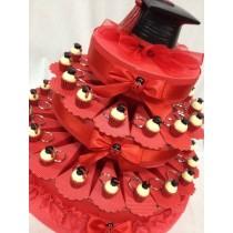 Torta bomboniera laurea con 35 portachiavi cupcake con tocco