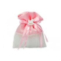 Sacchetto baby cavalluccio rosa con confetti e bigliettino
