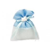 Sacchetto baby cavalluccio celeste con confetti e bigliettino
