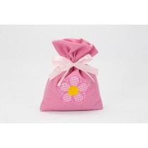 Sacchetto fiorellino rosa con confetti e bigliettino
