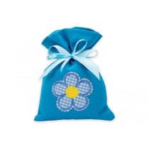 Sacchetto fiorellino celeste con confetti e bigliettino