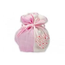 Sacchetto bicolore cuore pois con confetti e bigliettino