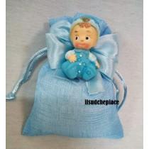 Sacchettino con baby boy con confetti e bigliettino