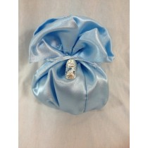 Sacchetto in raso con scarpa baby con strass completa di confetti e bigliettino