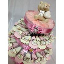 Torta bomboniera portachiavi baby completa di confetti e bigliettino