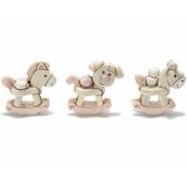 Bomboniera animaletto a dondolo baby rosa o celeste con confetti e bigliettino