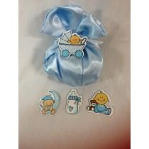 Sacchetto in raso con elementi baby con confetti e bigliettino