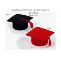 Tocco laurea rosso in vellutino portaconfetti