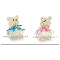 Portaconfetto orsetto rosa o celeste con confetti e bigliettino