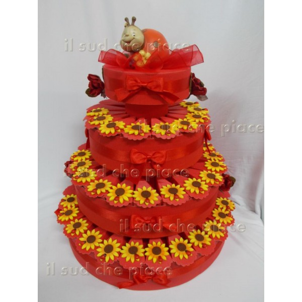Torta Matrimonio Girasoli : Torta bomboniera pezzi con girasoli coccinelle