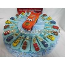 Torta bomboniera 60 pezzi portachiavi cars con confetti e bigliettino