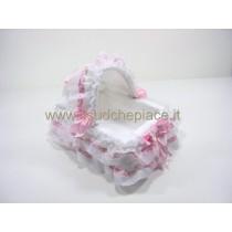 Culla porta bomboniere rosa e bianca