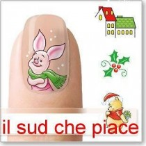 """STICKERS NAIL ART UNGHIE """"WINNIE THE POOH NATALE"""""""