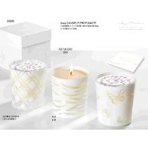 Bomboniera candela con base in cristallo con confetti e bigliettino