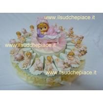 Torta bomboniera 20 bimbe rosa con confetti e bigliettino